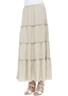 Joan Vass Tiered Peasant Jersey Skirt