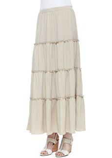 Joan Vass Tiered Peasant Jersey Skirt, Petite
