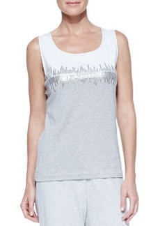 Joan Vass Two-Tone Beaded Sleeveless Shell, Petite