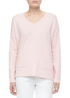 Joan Vass V-Neck 2-Pocket Boxy Top, Petite