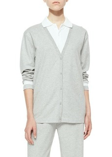 Joan Vass V-Neck Button-Front Cardigan W/ Stripes, Women's