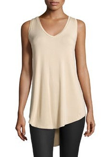 Joan Vass V-Neck High-Low Tank, Beach Beige