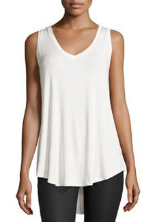 Joan Vass V-Neck High-Low Tank, Milky White