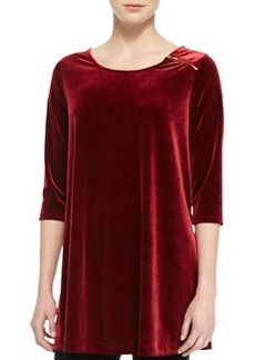 Joan Vass Velour Long Tunic, Wine, Petite