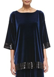 Joan Vass Velour Sequin-Trimmed Tunic, Navy, Women's