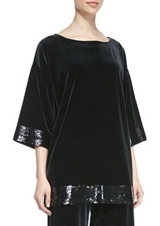 Joan Vass Velour Sequin-Trimmed Tunic, Petite