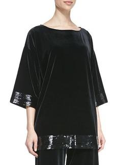 Joan Vass Velour Sequin-Trimmed Tunic, Women's