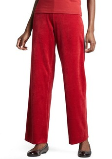 Joan Vass Velour Straight-Leg Pants, Petite