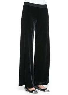 Joan Vass Velour Wide-Leg Pants