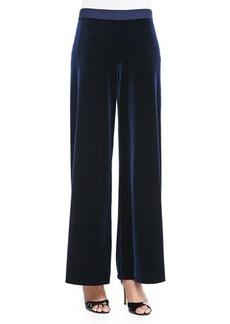 Joan Vass Velour Wide-Leg Pants, Navy, Petite
