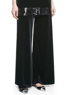 Joan Vass Velour Wide-Leg Pants, Petite