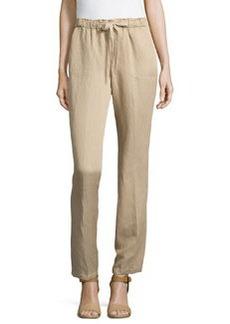 Joan Vass Wide-Leg Drawstring Pants, Beach Beige