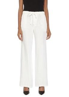 Joan Vass Wide-Leg Drawstring Pants, Milky White