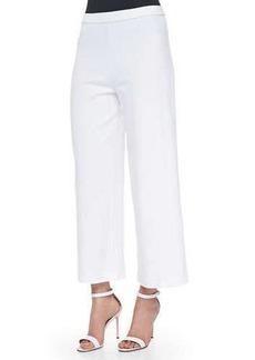 Joan Vass Wide-Leg Interlock Pants, White, Petite