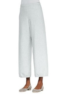 Joan Vass Wide-Leg Knit Pants, Soft Gray