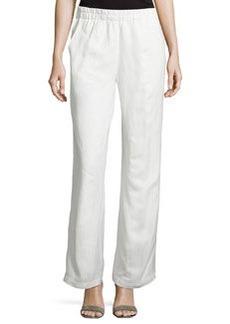 Joan Vass Wide-Leg Linen-Blend Pants, Crescent Ivory