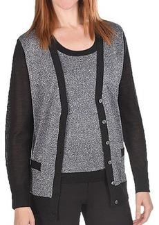 Joan Vass Wool-Lurex Sweater Cardigan (For Women)