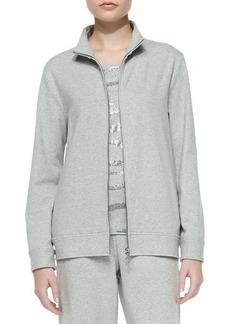 Joan Vass Zip-Front Mock-Neck Jacket, Petite