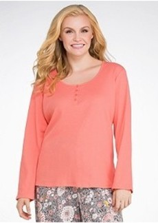 Jockey Blooming Cosmos Henley Knit Sleep Top Plus Size