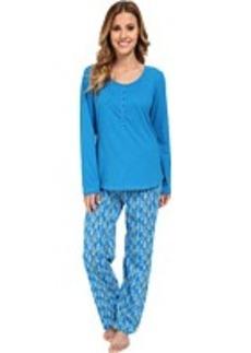 Jockey Mystic Bay L/S Henley Top w/ Rope Stripe Pant Pajama Set