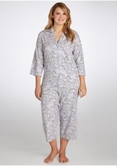 Jockey Paisley Capri Knit Pajama Set Plus Size