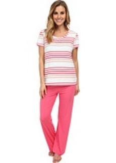 Jockey Spring Pop S/S Striped Top w/ Solid Long Pant Pajama Set