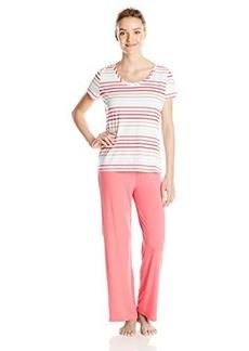 Jockey Women's Pajama Set with Striped Top and Long Pant