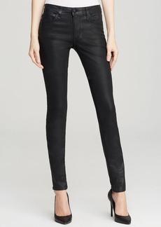 Joe's Jeans - Coated Mid Rise Skinny in Jet Black