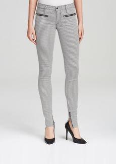 Joe's Jeans - Mini Houndstooth Print Zip Moto Skinny in Black and White