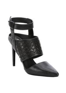 Joe's Jeans black leather 'Platt' laser cut pointed toe slingbacks