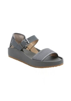 Joe's Jeans charcoal mesh and leather 'Pomeroy' platform sandals
