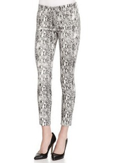 Joe's Jeans Mid-Rise Python-Print Skinny Ankle Jeans