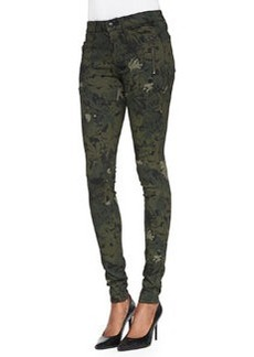 Joe's Jeans Rollin' Camo/Floral-Print Zipper Leggings