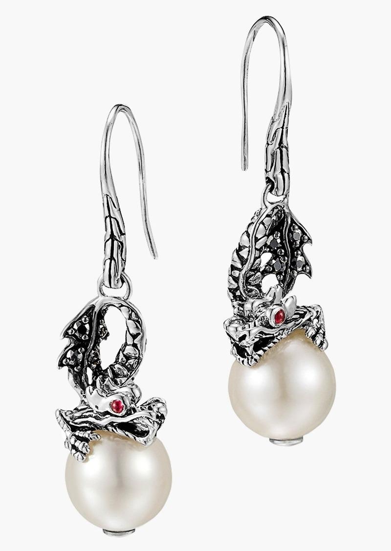 John hardy john hardy 39 naga lava 39 dragon pearl drop for John hardy jewelry earrings