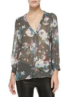 Aceline Long-Sleeve Semi-Sheer Floral Top   Aceline Long-Sleeve Semi-Sheer Floral Top