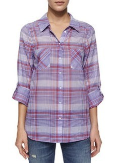 Aidan Long-Sleeve Plaid Top W/ Pockets   Aidan Long-Sleeve Plaid Top W/ Pockets