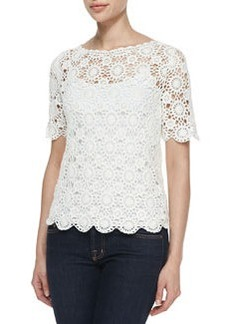 Alizeh Cotton Boat-Neck Crochet Top   Alizeh Cotton Boat-Neck Crochet Top