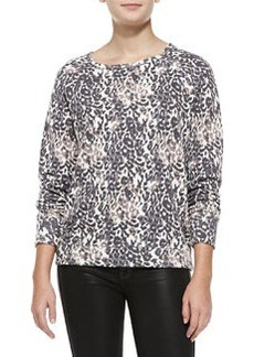 Annora Leopard-Print Sweater, Porcelain-Charcoal   Annora Leopard-Print Sweater, Porcelain-Charcoal