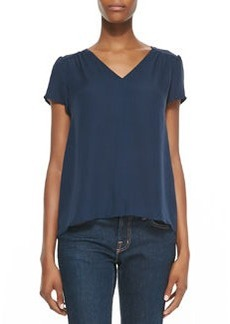 Arna Silk V-Neck Top, Dark Navy   Arna Silk V-Neck Top, Dark Navy