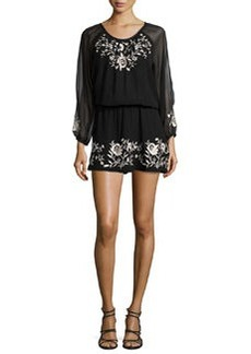 Avanta Embroidered-Trim Silk Dress   Avanta Embroidered-Trim Silk Dress