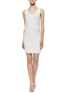 Bond Ruched-Skirt Blouson Dress, White   Bond Ruched-Skirt Blouson Dress, White