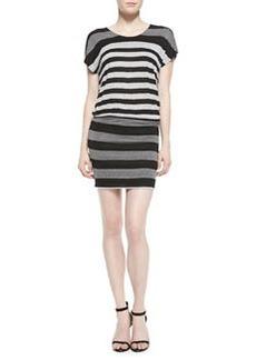 Brix Striped Jersey Short-Sleeve Dress   Brix Striped Jersey Short-Sleeve Dress