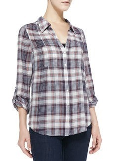 Cartel Loose Plaid Cotton Blouse   Cartel Loose Plaid Cotton Blouse