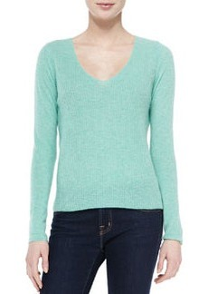 Cashmere Luscinia Ribbed Scoop-Neck Sweater   Cashmere Luscinia Ribbed Scoop-Neck Sweater