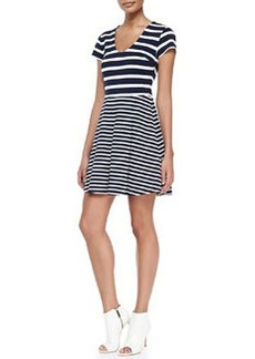 Chikara Striped Short-Sleeve A-Line Dress   Chikara Striped Short-Sleeve A-Line Dress