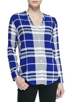 Dane Split V-Neck Plaid Top   Dane Split V-Neck Plaid Top