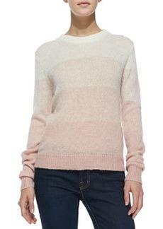 Dorianna Shadow-Stripe Knit Sweater   Dorianna Shadow-Stripe Knit Sweater