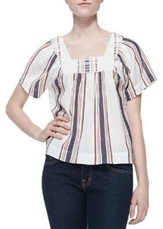 Eiley Striped Voile Peasant Top   Eiley Striped Voile Peasant Top