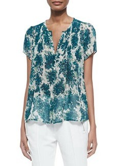 Eitana Botanical-Print Silk Top   Eitana Botanical-Print Silk Top