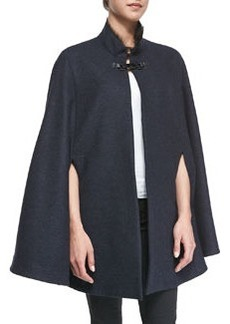 Elizabetta Fur-Trim Felt Cape   Elizabetta Fur-Trim Felt Cape